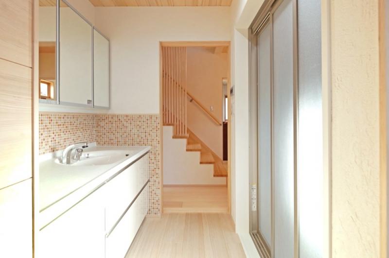 <p>家事が楽な動線にして、1階で家事を完結します。</p>